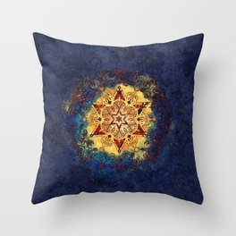 Star Shine in Gold and Blue Throw Pillow