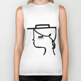 A Girl with A Hat Biker Tank