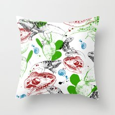 Lizards pattern (color) Throw Pillow