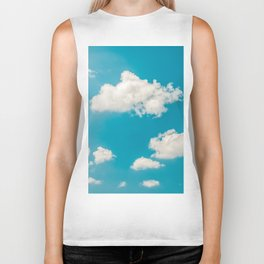 Deep Blue Summer Sky, White Clouds On Turquoise Sky, Heaven Scenery, Wall Art, Poster Decor Biker Tank