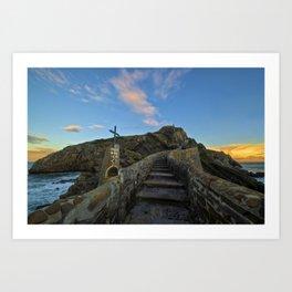 Access by stairs to the hermitage of San Juan de Gaztelugatxe, Spain Art Print