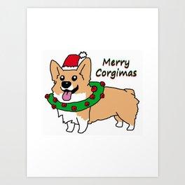 Merry Corgimas Art Print
