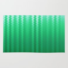 Green and Blue Ombre Soft Wavy Lines Rug