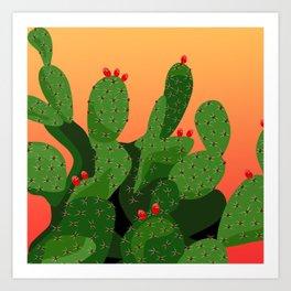 Prickly Pear Desert Sunset Art Print