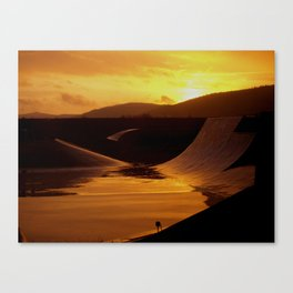 Skate park during a rainy sunset Canvas Print
