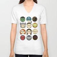 avenger V-neck T-shirts featuring Avenger Emojis :) by Jozi