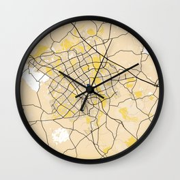 Milton Keynes Yellow City Map Wall Clock