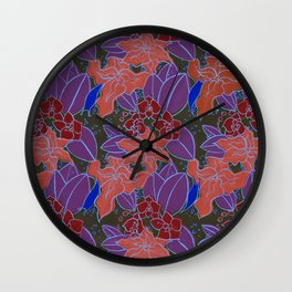 Blue Lilies and Orchids Wall Clock