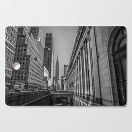 Looking Out at the Empire State Building (B&W) Cutting Board