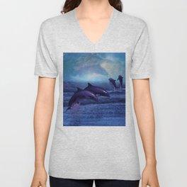 Dolphins play Unisex V-Neck