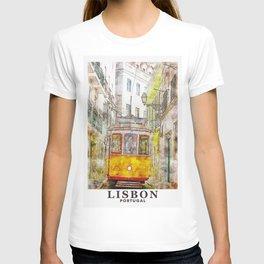 Lisbon Portugal Travel Painting Art T-shirt
