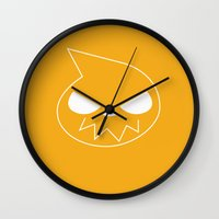 soul eater Wall Clocks featuring Soul Eater by megamewdesign