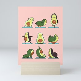 Avocado Yoga in Pink Mini Art Print