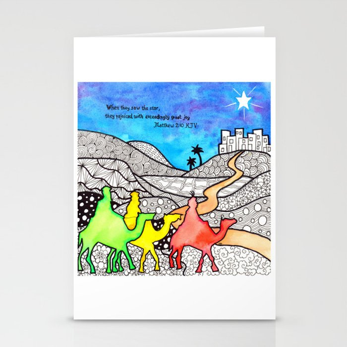 Watercolor Doodle Art | Three Wise Men Stationery Cards