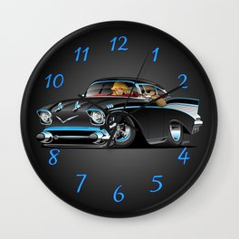Classic hot rod fifties muscle car with cool couple cartoon Wall Clock