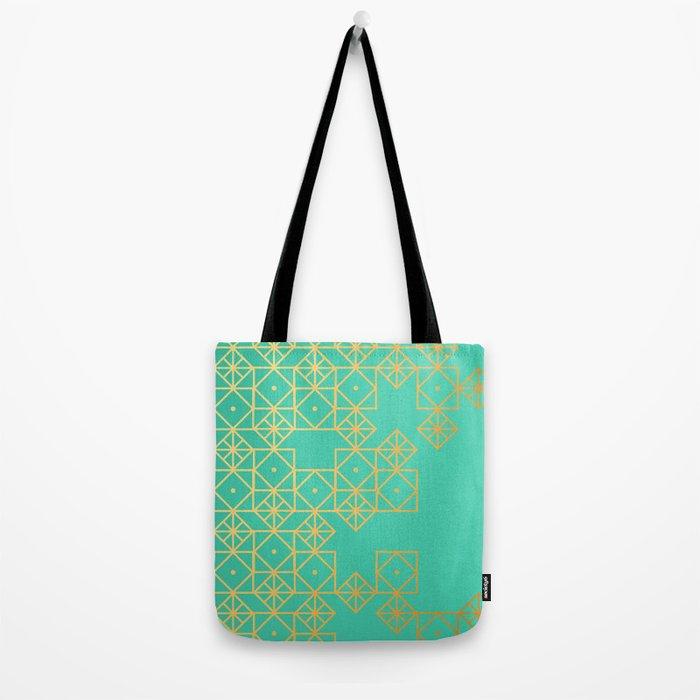 Geometric Turquoise Tote Bag