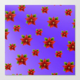 Red Flowers Pattern 3 Canvas Print
