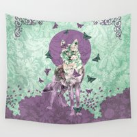 lady Wall Tapestries featuring Lady Butterfly by Paula Belle Flores