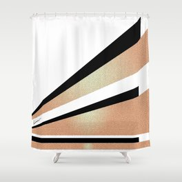 Sundown Retro Abstract Golden Sun Shower Curtain