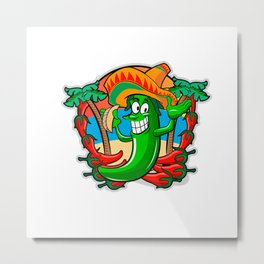 Mexican Pepper With Tacos Metal Print