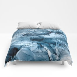 Churning Blue Ocean Waves Abstract Painting Comforters