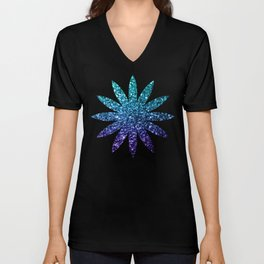 Beautiful Aqua blue Ombre glitter sparkles Unisex V-Neck