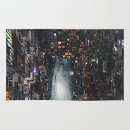 past the city lights Rug