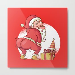 SANTA TWERK FUNNY CHRISTMAS DANCE CARTOON Metal Print