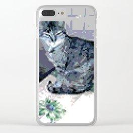 Smart Blue Kitten Clear iPhone Case