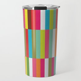 Bright Colorful Stripes Pattern - Pink, Green, Summer Spring Abstract Design by Travel Mug