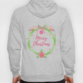"Watercolor Holly Wreath ""Merry Christmas"" Hoody"