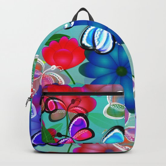 Abstract Butterflies with Flowers (Blue) Backpack