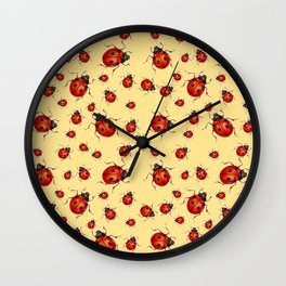 """I LOVE RED LADY BUGS"" ON CREAM COLOR Wall Clock"