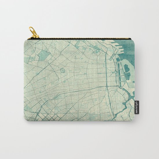 Buenos Aires Map Blue Vintage Carry-All Pouch