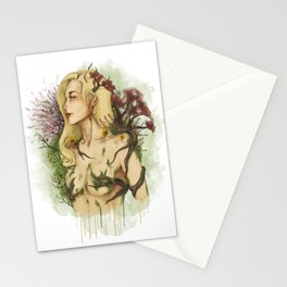 "Watercolor Painting of Picture ""Profile Woman"" Stationery Cards"