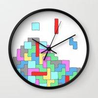 tetris Wall Clocks featuring Tetris by #dancingpenguin