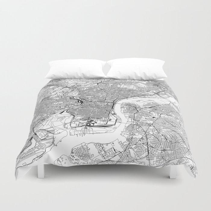 Philadelphia White Map Bettbezug