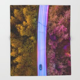 the purple road in the forest Throw Blanket