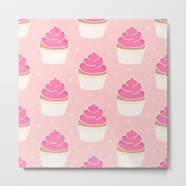 Pink Cupcakes with Frosting Metal Print