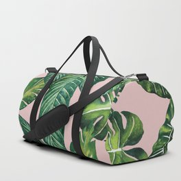 Jungle Leaves, Banana, Monstera II Pink #society6 Duffle Bag