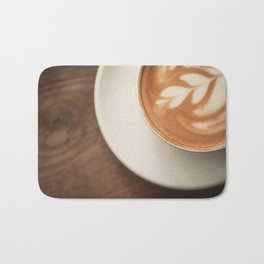 Warm artisanal Cappuccino for a Morning Sunday breakfast Bath Mat