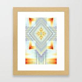 Fractal Art- Religious Cross- Native American- Yellow Art- Illuminative- Orange Art- Framed Art Print