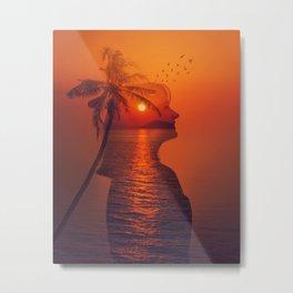 sea sunset double exposure Metal Print