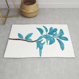green rubber tree watercolor Rug