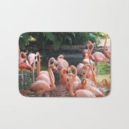 Tropical pink Flamingo birds Bath Mat