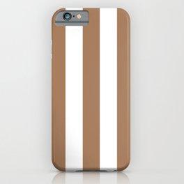 Café au lait brown - solid color - white vertical lines pattern iPhone Case