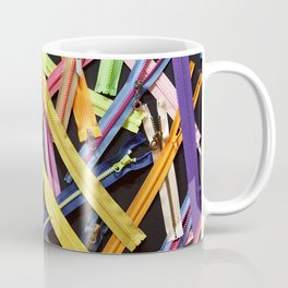 Zippers for clothes on black Coffee Mug
