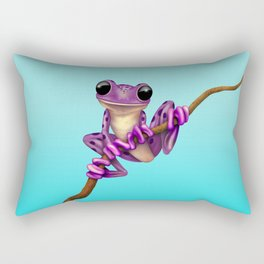 Cute Purple Tree Frog on a Branch Rectangular Pillow