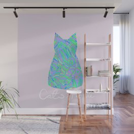 Cats are Better Than People Purple Pink Abstract Colorful Print Wall Mural