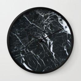black veined marble mlack marble purple lines art print Wall Clock